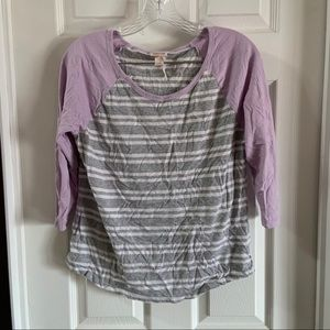 Mossimo Grey/White/Purple Striped 3/4 Sleeve Top L